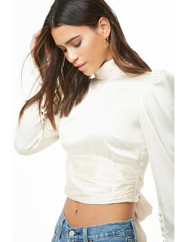 Satin Open Back Crop Top by Forever 21