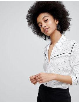 Miss Selfridge – Gepunktetes Hemd Im Western Stil by Asos