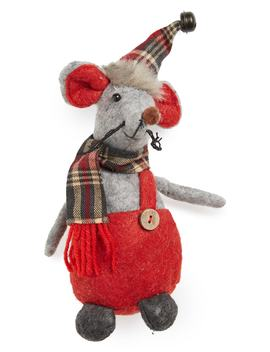 Plaid Hat Christmas Mouse by Melrose Gifts