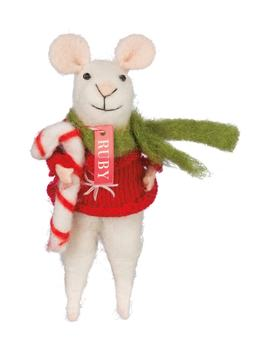 Ruby Mouse With Candy Cane by Primitives By Kathy