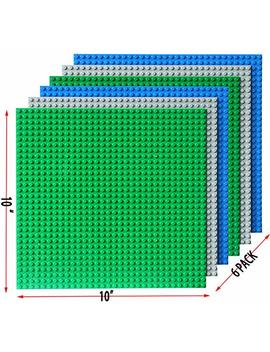 """Upgrade Stackable Building Base Plates  Baseplate 10"""" X 10"""" In Variety Color, Compatible With All Major Brands (6 Pc Mixed) by Dreambuilder Toy"""