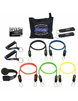 Bodylastics Patented Anti Snap 12pcs, 14pcs, 19pcs And 31pcs Max Tension Resistance Bands Sets With 5, 6, 7 Or 14 Of Our Exercise Bands, Heavy Duty Components, A Bag And User Manual. by Bodylastics