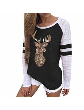 Tna Iolr Women Christmas Blouses Tops Clearance Sale,Ladies Festival Womens Reindeer T Shirt Xmas Long Sleeve Tops by Tna Iolr