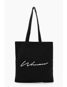 Woman Script Canvas Shopper by Boohoo