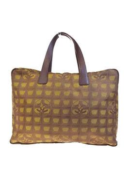 Auth Chanel Cc New Travel Line Hand Bag Jacquard Khaki Italy Vintage 04 Eb030 by Chanel