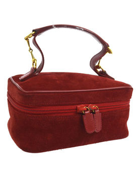 Authentic Gucci Horsebit Cosmetic Hand Bag Red Suede Leather Vintage Ak25212 by Gucci