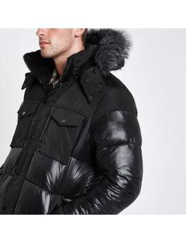 Black Faux Fur Trim Hooded Long Puffer Jacket by River Island