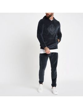 Charcoal Grey Velour Embroidered Hoodie by River Island