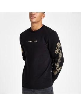 Black Slim Fit Baroque Sleeve Sweatshirt by River Island