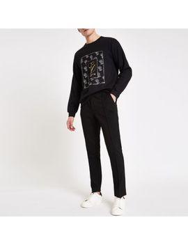 Black 'Carpe Diem' Print Sweatshirt by River Island