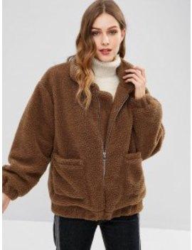 Fluffy Zip Up Winter Teddy Coat   Coffee S by Zaful