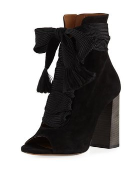 Suede Peep Toe Lace Up Booties by Chloe