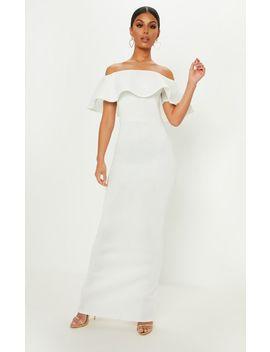 White Bonded Scuba Bardot Frill Detail Maxi Dress by Prettylittlething