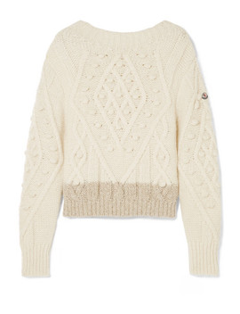 Two Tone Cable Knit Alpaca Blend Sweater by Moncler