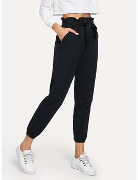 Tie Waist Frill Trim Solid Pants by Romwe