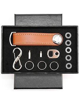 Compact Key Holder Leather Key Organizer Secure Locking Mechanism   Expandable Key Holder Hook Up (8 Keys) Made By Premium Quality Leather (Elegant Brown) by Tonos