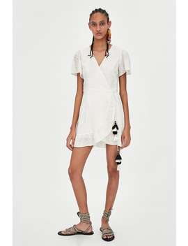 Embroidered Wrap Dress  White Dresses Woman by Zara