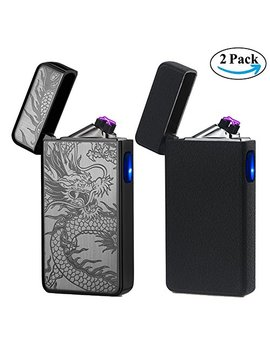 Usb Lighter 2 Pack,Dual Arc Electric Plasma Lighter Rechargeable Flameless Metal Lighter Windproof Pulse Flip Lighter For Cigar,Cigarette,Candle,Camping... by Lcfun