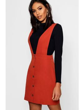 Plunge Front Button Pinafore Dress by Boohoo