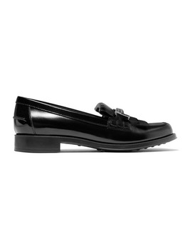 Fringed Embellished Glossed Leather Loafers by Tod's