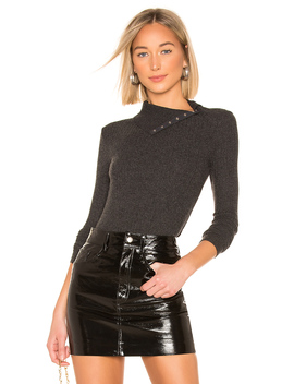 Rib Split Collar Top by Enza Costa
