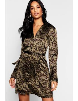 Tall Satin Leopard Print Belted Shift Dress by Boohoo