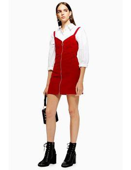 Petite Corduroy Zip Through Dress by Topshop