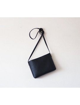 Minimalist Black Leather Crossbody Bag With Magnetic Closure by Etsy