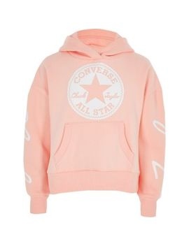Girls Converse Pink Cropped Hoodie by River Island