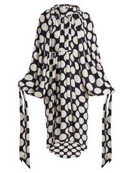 Giant Polka Dot Print Gathered Crepe Dress by A.W.A.K.E.