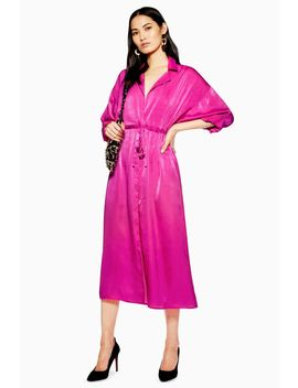 Satin Midi Shirt Dress by Topshop