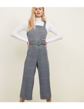 Blue Check Jacquard Belted Pinafore Jumpsuit by New Look