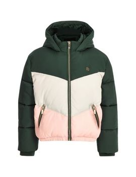 Girls Green Colour Block Hooded Puffer Coat by River Island