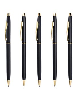 Ballpoint Pens Black, Cambond Black Ink Pen 1.0 Mm Medium Point For Men Women Police Uniform Office Business Daily Writing, 5 Pack   Cp0101 by Cambond