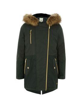 Girls Khaki Faux Fur Trim Parka Jacket by River Island