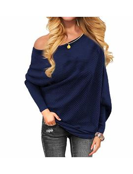 Voianlimo Women's Off Shoulder Knit Jumper Long Sleeve Pullover Baggy Solid Sweater by Voianlimo