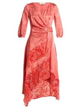 Floral Jacquard Satin Wrap Dress by Peter Pilotto