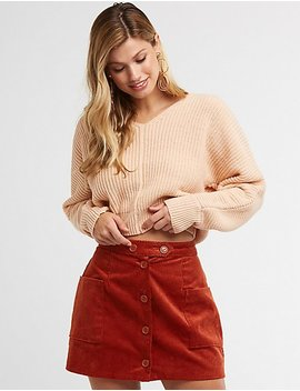 V Neck Cropped Sweater by Charlotte Russe