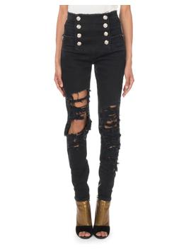 High Waist Eight Button Destroyed Skinny Jeans by Balmain