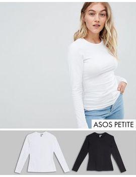 Asos Design Petite   Ultimate   Lot De 2 Tops Ras De Cou à Manches Longues   Économie by Asos Design