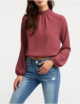 Tie Back Mock Neck Top by Charlotte Russe