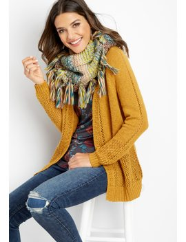 Open Stitch Long Sleeve Cardigan by Maurices