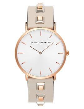 Major Embellished Leather Strap Watch, 40mm by Rebecca Minkoff