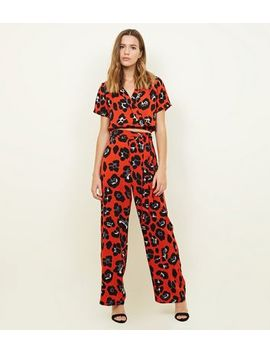 Cameo Rose Red Animal Print Trousers by New Look