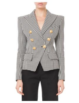 Double Breasted Golden Button Houndstooth Blazer by Balmain