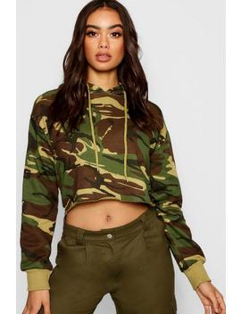 Camo Cropped Hoody by Boohoo