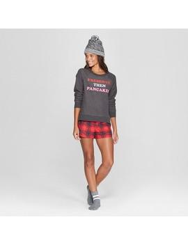 Women's Plaid Presents, Then Pancakes 4pc Pajama Set   Xhilaration™ Charcoal by Xhilaration