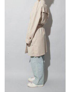 Beige Oversized Trench Coat / Vintage Khaki Double Breasted Coat / Lined / 90s Coat / Sz 38 R / Fits S M L by Etsy