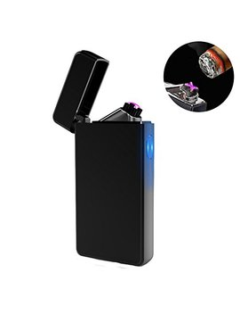 Dual Arc Plasma Lighter Usb Rechargeable Windproof Flameless Butane Free Electric Lighter For Cigar,Candle (Black) by Lcfun