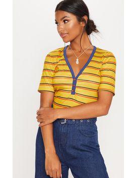 Mustard Button Down Stripe T Shirt by Prettylittlething